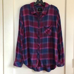 GUC Rails Magenta and Navy Plaid Flannel Shirt